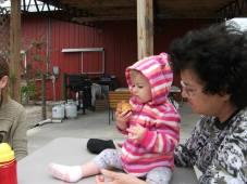 Josie eats a peach