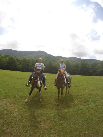 posing on horses